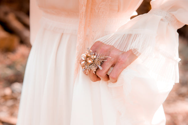 Retro wedding floral ring Floral accessories Jewellery Bridesmaid ring Bridal ring Magaela accessories Adjustable ring Beige ring