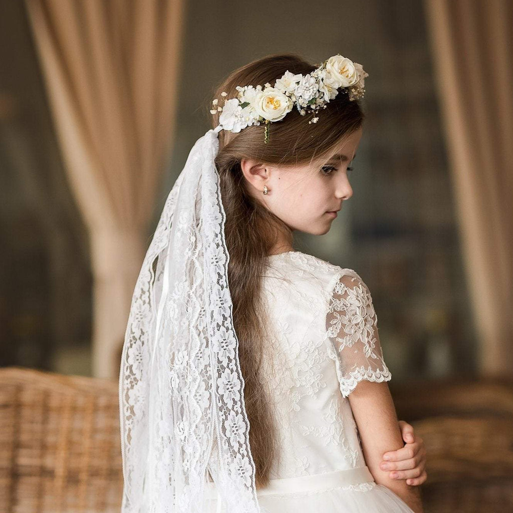 Hair crown with long veil for first holy communion White floral wreath Floral accessories Hair accessories Magaela Handmade