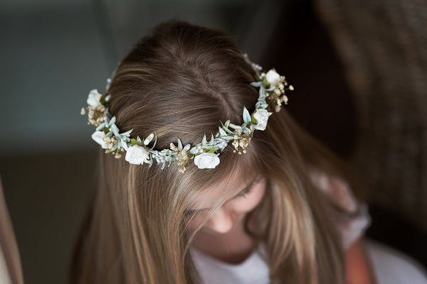 Hair crown for first holy communion Floral wreath with white roses Hair flowers Floral accessories Hair accessories Magaela Handmade