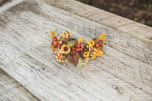 Autumn floral hair vine Flower arrangement Hair flowers Wedding hair accessories Hair wreath Bridal accessories Handmade arrangement