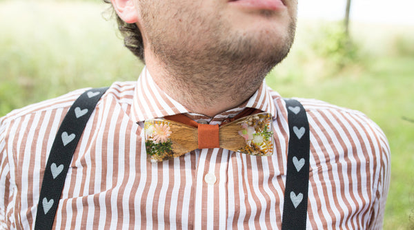 Bow tie in orange and peach tones Men's accessories Neckties Wedding accessories Floral bow tie Wooden bow tie Magaela accessories Resin