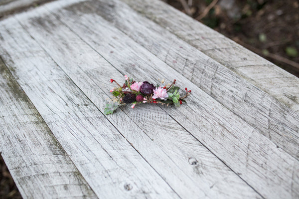 Burgundy and pink hair comb Floral Hair comb Bridal accessories Hair flowers Handmade hair comb Wedding comb Bridal hair fashion accessories