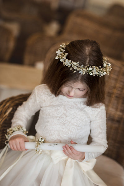 First holy communion half wreath Magaela accessories White floral wreath Hair accessories Holy communion Hair flowers Flower crown