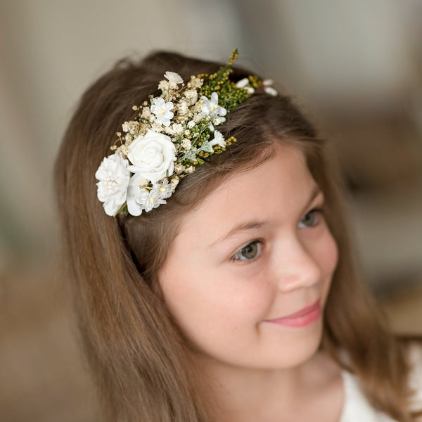Headband for first holy communion White floral headband Communion Girls headband Floral accessories Hair accessories Magaela Handmade