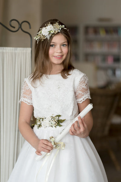 Communion flower belt White sash for girls Magaela accessories White floral belt Accessories Holy communion Flower belt