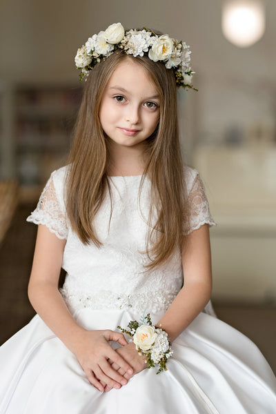 First holy communion bracelet Bridesmaid bracelet Magaela accessories White floral bracelet Holy communion Fashion bracelet Flower bracelet