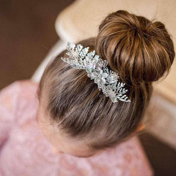 Silver hair comb for first holy communion Decorative hair comb Floral Hair accessories Bride Magaela Handmade Hair comb handmade