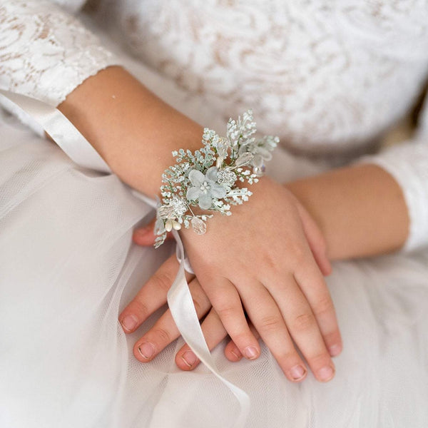Silver first holy communion bracelet Bridesmaid bracelet Magaela accessories Floral bracelet Holy communion Fashion bracelet Flower bracelet