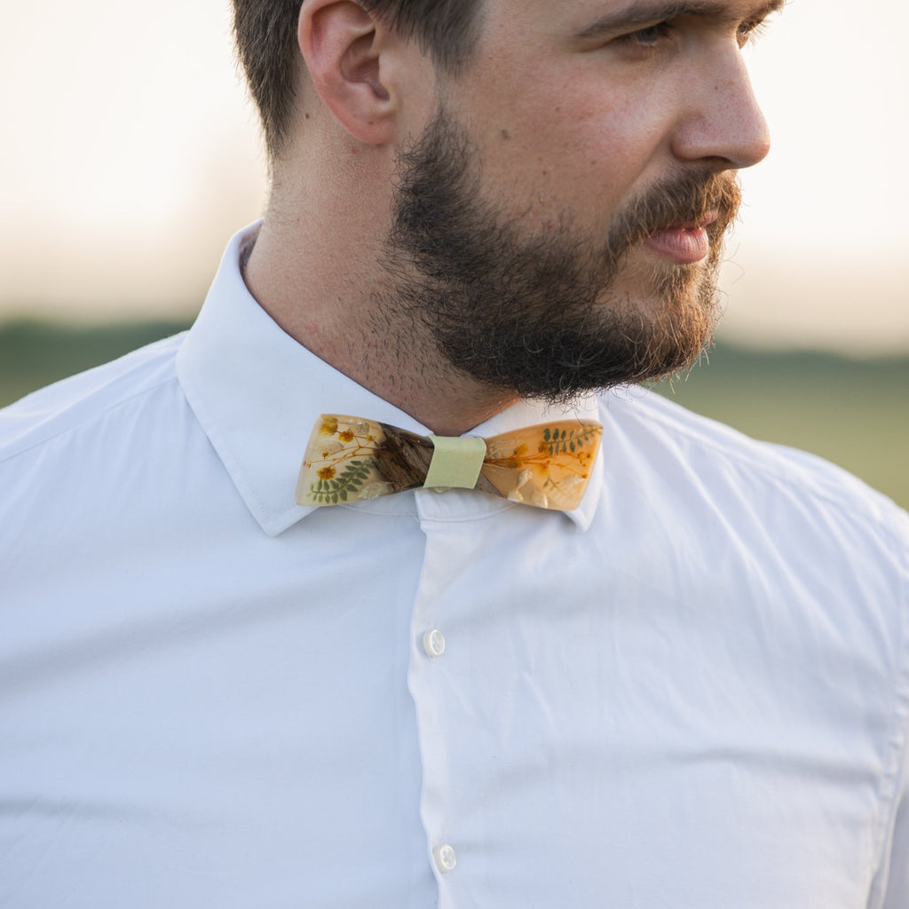 Beige and yellow wooden resin bow tie  Men's accessories Wedding accessories Floral wooden bow tie Magaela accessories Resin
