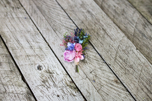 Groom's boutonniere with blueberries Wedding boutonniere Buttonhole Purple and pink boutonniere Handmade buttonhole Groom's corsage