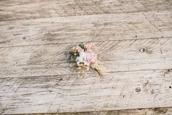 Romantic pink and ivory boutonniere Magaela Wedding boutonniere Handmade groom's boutonniere Wedding accessories Buttonhole