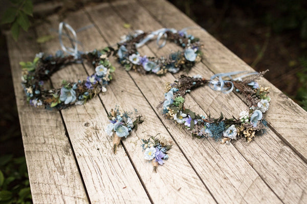 Blue wedding set Hair crown Floral hair wreath Boutonniere Groom's buttonhole Hair accessories Wedding hair crown Bridal accessories