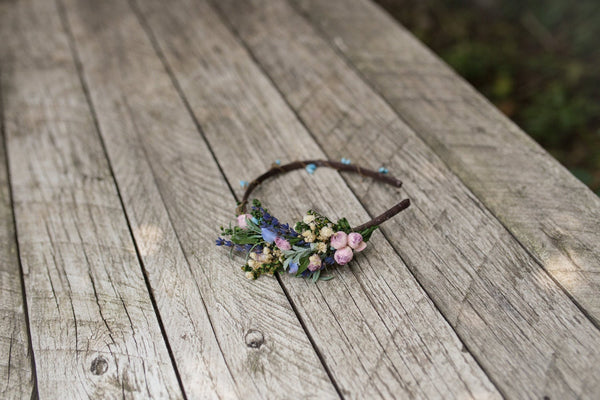 Lavender bridal flower hairband Wedding headband Bridal hairband Floral accessories Wedding accessories Magaela accessories Handmade