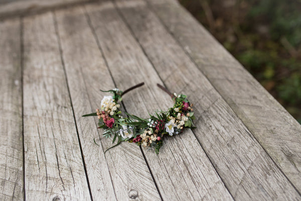 Boho bridal flower hairband Wedding headband Bridal hairband Floral accessories Wedding accessories Magaela accessories Handmade