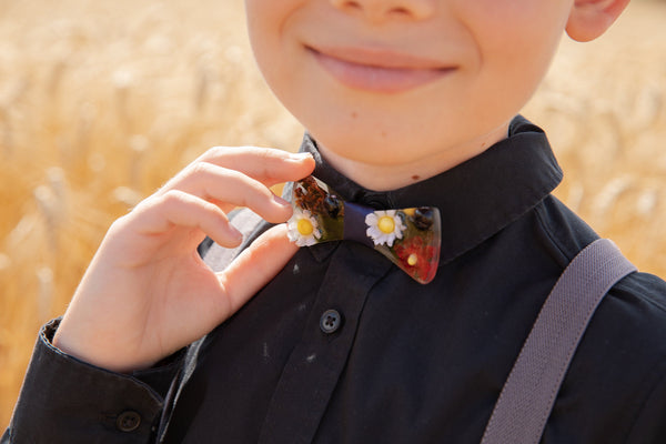 Folk wooden resin bow tie Men's accessories Children's bow tie Wedding accessories Handmade floral wooden bow tie Magaela accessories Resin