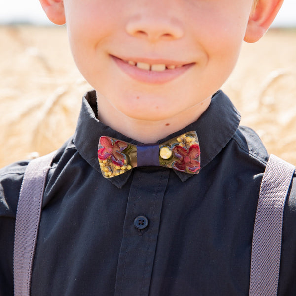 Children's burgundy wooden resin bow Bow tie for boy Men's accessories Wedding accessories Floral wooden bow tie Magaela accessories Resin