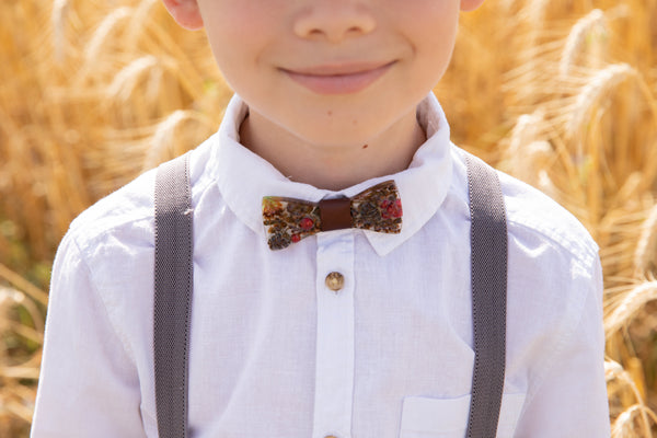 Children's brown wooden resin bow tie Woodland bow tie for boy Wedding accessories Floral wooden bow tie Magaela accessories Resin