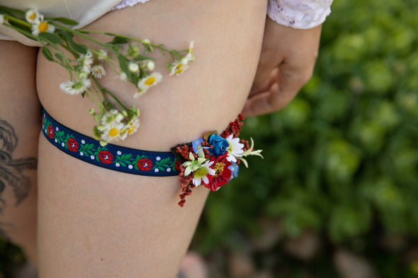 Folk wedding garter Bridal floral garter Handmade garter for bride Blue folk garter Colourful wedding garter Magaela accessories Wedding