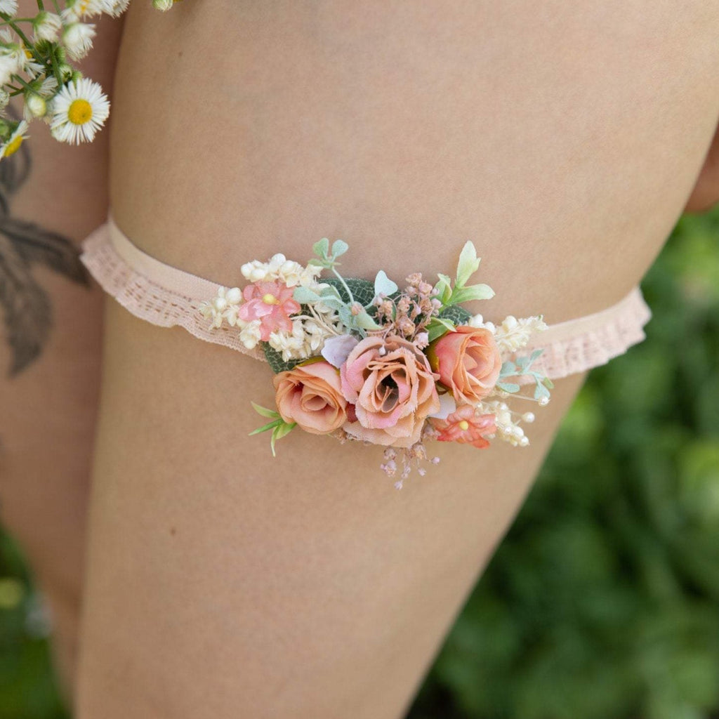 Peach wedding garter Bridal floral garter Handmade garter for bride Romantic wedding garter Magaela accessories Wedding accessories