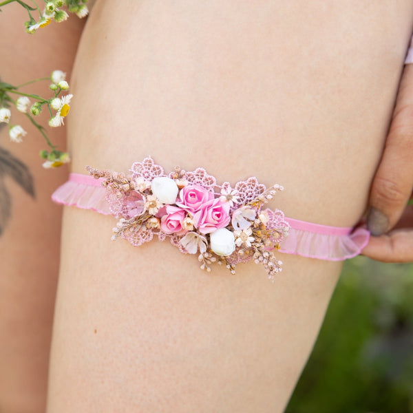 Romantic pink and ivory wedding Garter Wedding accessories Flower Garter for bride Romantic garter Wedding garter Bridal floral garter