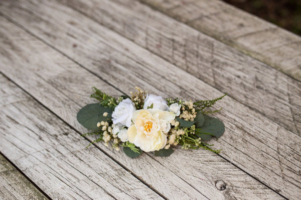 Greenery wedding set Bridal set Floral accessories Bridal accessories Hair crown Decorative hair comb Wedding hair crown Green and white