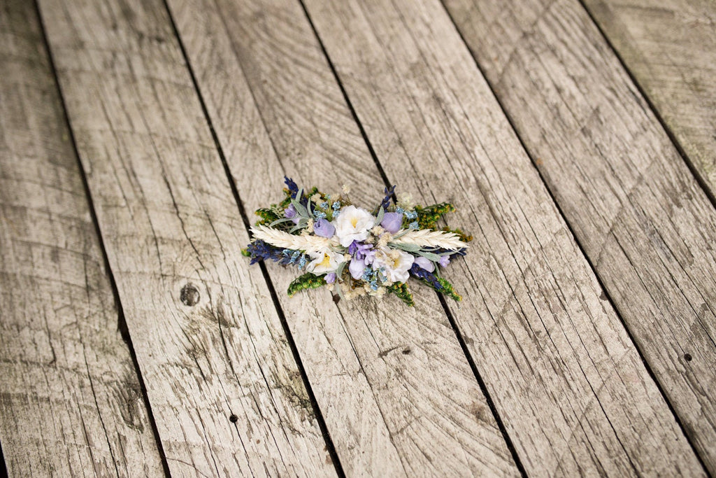 Flower hair clip with lavender Hair clip for bride Romantic hair clip Hair clip in blue Hair accessories Wedding accessories Beige hair clip