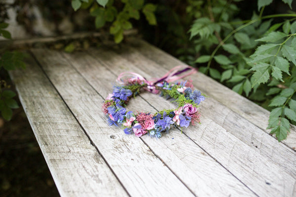 Romantic wedding hair wreath in purple and pink colours Wedding hair crown Bridal hair wreath Boho crown Magaela accessories Floral crown