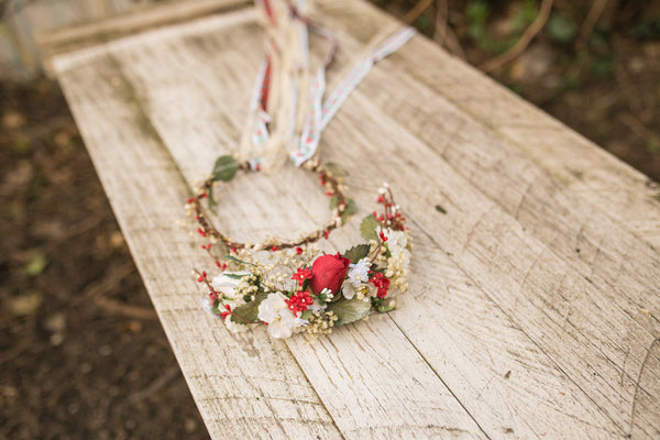 Beige and red wedding wreath with folk and beige ribbons Wedding accessories Bridal accessories Hair wreath Flower crown Handmade wreath