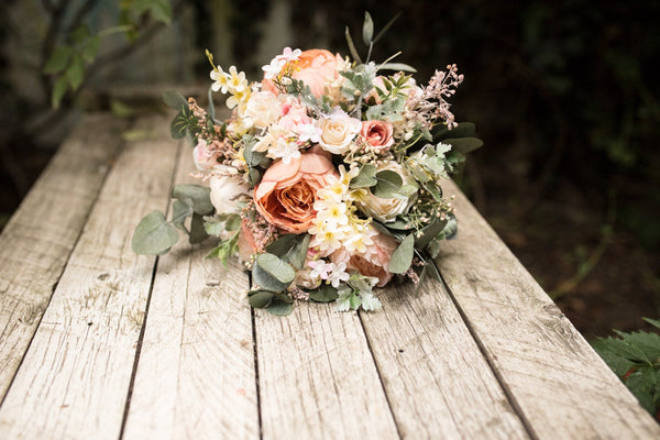 Wedding Peach wedding bouquet Bridal bouquet Flower Bridal Bouquet Boho Bouquet Rustic Bouquet Bridesmaid Bouquet Artificial Bouquet