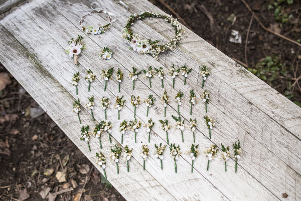 Mini boutonnieres for wedding guests Greenery baby's breath Wedding accessories Floral boutonnieres Groom's accessories Groom's corsage Best men boutonniere