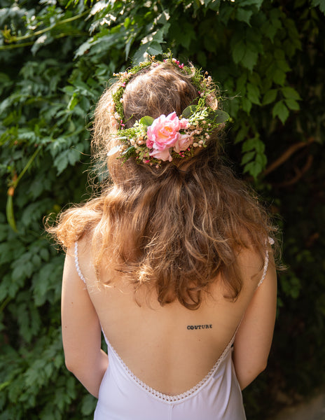 Romantic wedding set Bridal set Floral accessories Bridal accessories Hair crown Decorative hair comb Wedding hair crown Green and pink