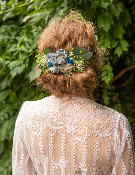 Flower wedding set Bridal set Floral accessories Bridal accessories Hair crown Decorative hair comb Wedding hair crown Green and blue