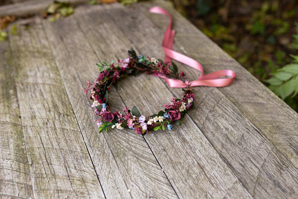 Romantic flower hair wreath Bridal hair wreath Burgundy pink wreath Floral wreath Hair crown Wedding hair accessories Hair jewellery