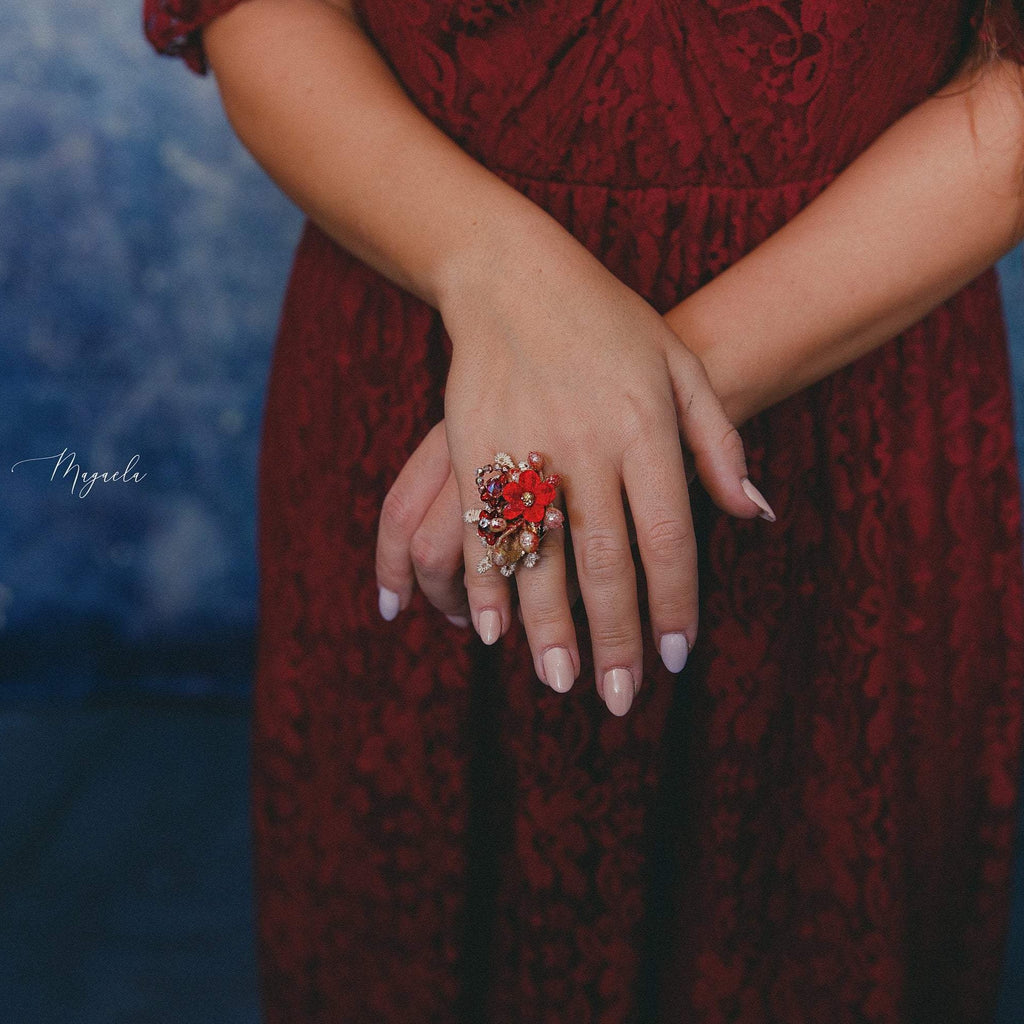 Red and gold flower ring Bridal ring Wedding accessories Red flower ring Flower ring for bride Wedding jewellery Bridal jewelry Magaela