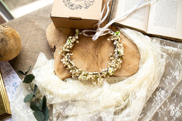 Baby's breath First Holy Communion head wreath Candle flowers Holy communion half crown Candle decoration Flower wreath Hair accessories Magaela Handmade