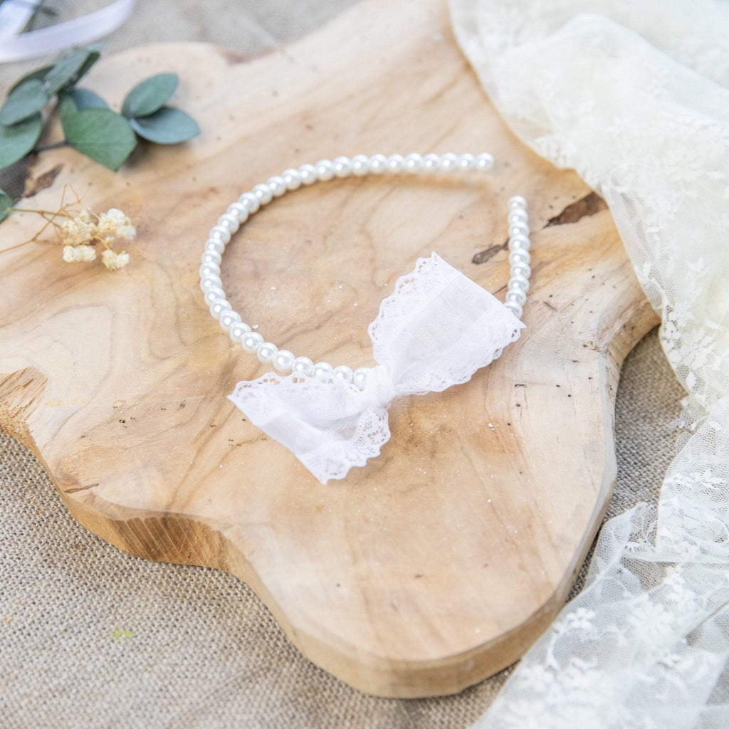Holy communion headband with peals First holy communion headband with bow Magaela accessories White headband for communion Headband for girl