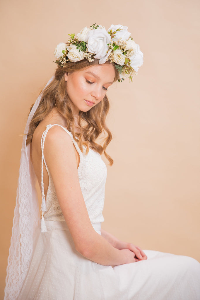 White boho wedding hair wreath with ribbons Bridal hair wreath Boho wedding Wedding accessories Flower crown Boho wedding Ivory hair wreath
