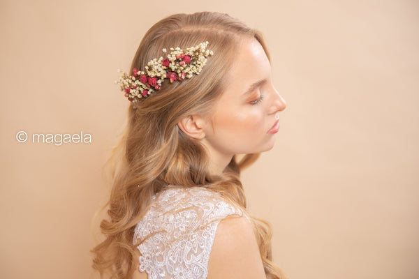 Beige and red flower hair comb Wedding hair comb Bridal hair comb Wedding accessories Magaela accessories Natural hair comb Handmade