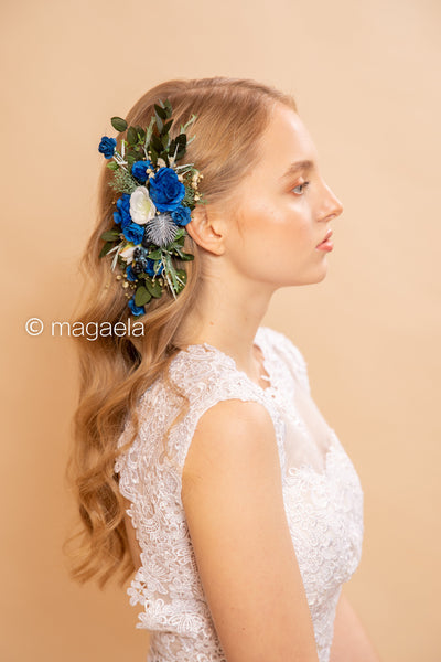 Blue wedding hair comb Floral hair comb Bridal comb Floral hair accessories Wedding hair comb Wedding accessories Blue and ivory comb