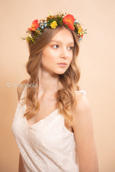 Folk wedding half wreath Bridal flower wreath Flower crown for bride Folk wedding Wedding accessories Half crown Magaela accessories