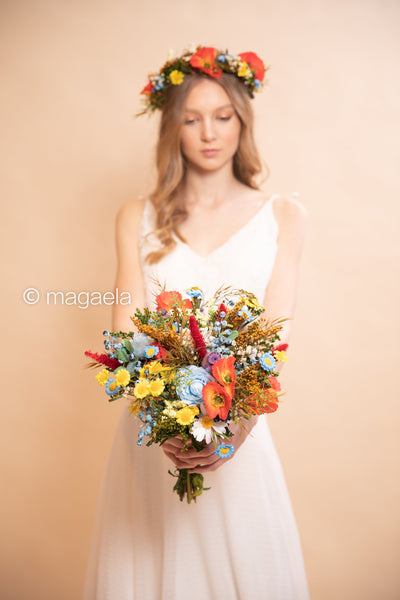 Folk wedding bouquet Bridal bouquet Colourful bouquet for bride Wedding accessories Bridal accessories Bouquet with poppy flowers Summer