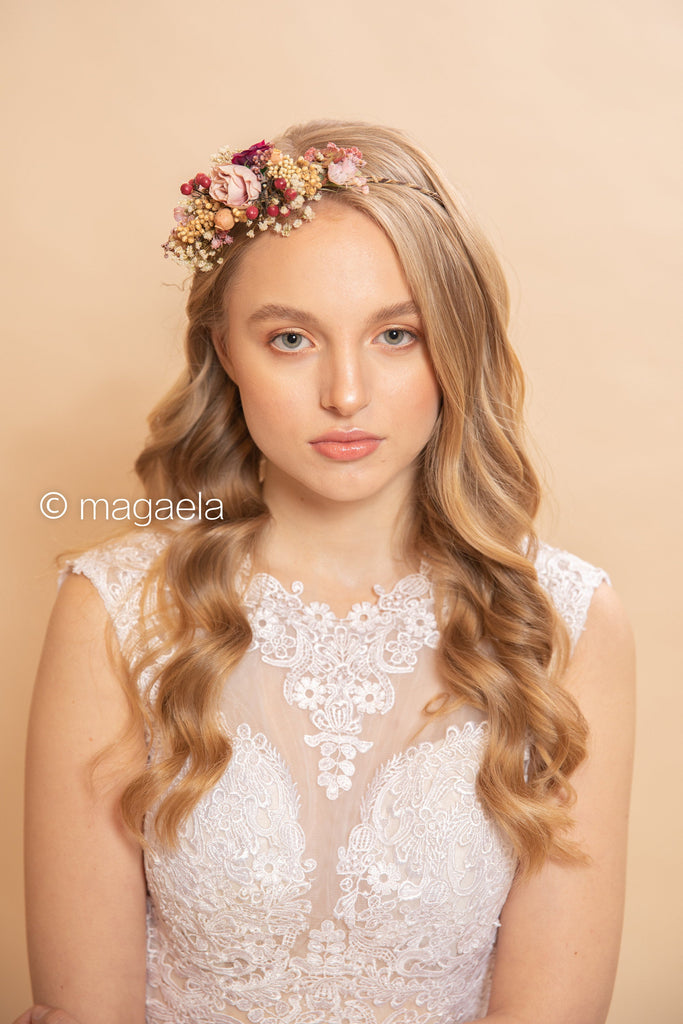 Romantic flower half wreath Bridal flower wreath Magaela half crown Flower crown Flower headband Wedding accessories Hair crown Handmade