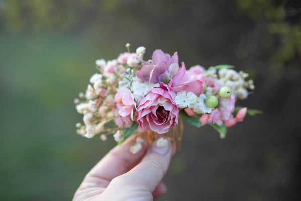 Romantic flower Hair accessories Wedding Hair Flowers Head Wreath Flower Magaela Pink Bridal hair comb Fairy Wreath Floral Hair design