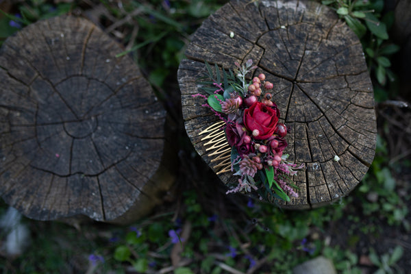 Burgundy wedding hair comb Bridal flower comb Wedding hair accessories Red flower comb Burgundy accessories Decorative hair comb Autumn
