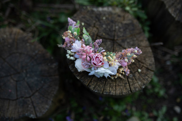 Romantic quarter wreath Wreath with pink flowers Hair flowers Romantic wedding Pink hair wreath Magaela accessories Flower accessories