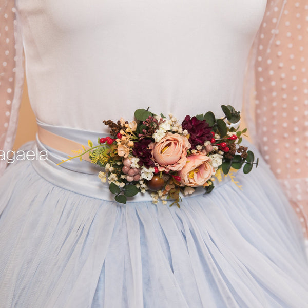 Autumn wedding belt Flower sash Wedding sash Bridal accessories Wedding belt on ribbon Autumn wedding Magaela accessories Handmade belt