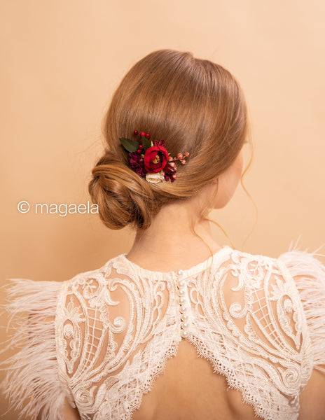 Red mini hair comb Burgundy floral wedding comb Bridal hair fashion accessories Wedding Romantic style comb Small wedding comb Magaela