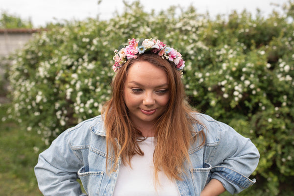 Blush and mint wedding wreath Bridal flower crown Dusty pink crown Romantic Flower vine Pastel wedding hair crown Boho wedding Handmade