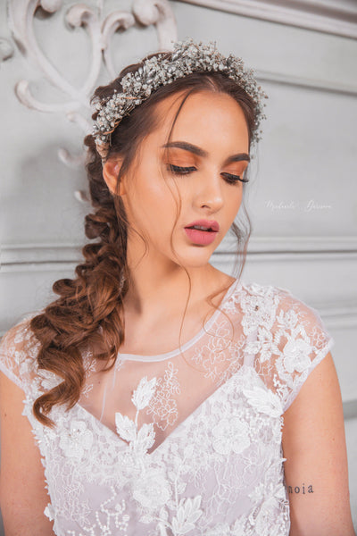 Romantic hair wreath in silver ivory colours Ivory hair wreath Silver hair crown Wedding flower crown Bridal hair wreath Bridal vine Magaela