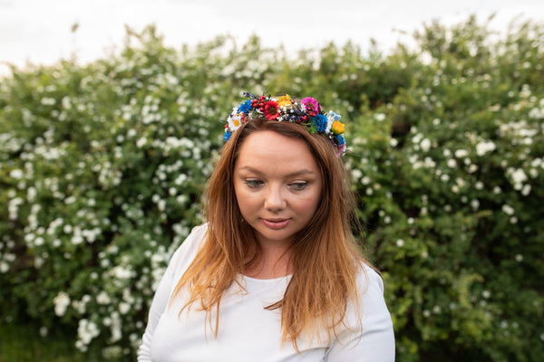 Folk flower half wreath Bridal accessories Magaela accessories Meadowy hair crown Headpiece Folk wedding Bride to be Half wreath Handmade